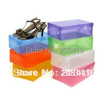 Transparent Women Stackable Crystal Clear Plastic Shoe Storage Boxes case organizer 7 colors in stockwholesale retail