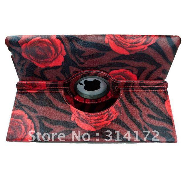 Free shipping Rose Pink 360 degree Rotatate leather case for iPad 2  for ipad 2 rotating leather case
