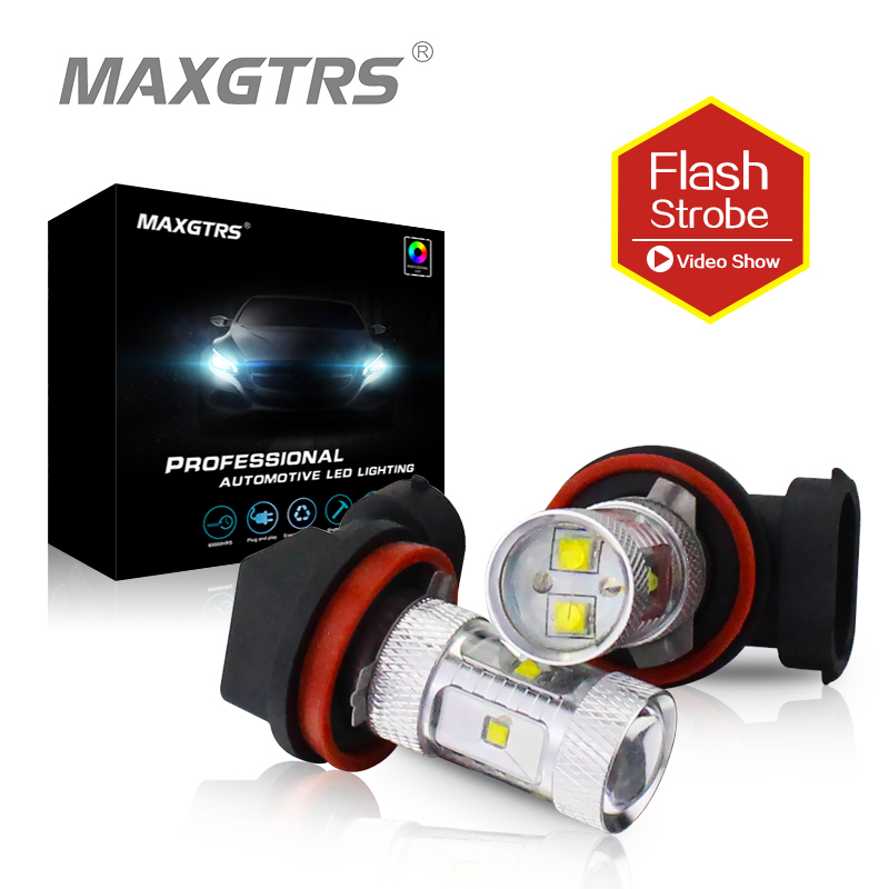2x Strobe Flash <font><b>H8</b></font> 9005 9006 HB4 30W <font><b>Cree</b></font> Chip <font><b>LED</b></font> Car Auto DRL Daytime Running Lights Headlight Fog Lamp Flicker Bulb DC12V-24V image