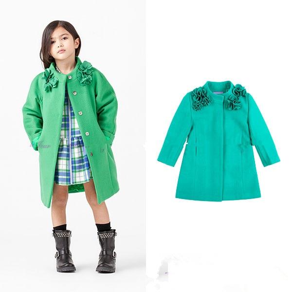 Fine children's clothing Emerald collar open-hand type manual flower flower wool dark buckle coat jacket apricot chimney collar open front long sleeves coat