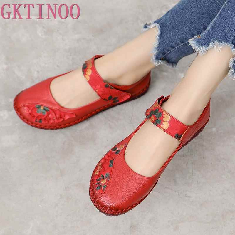 GKTINOO Spring Fashion Flower Design Round Toe Soft Bottom Flat Shoes Vintage Genuine Leather Women Flats Girl Loafer Large Size