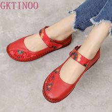 GKTINOO Spring Fashion Flower Design Round Toe Soft Bottom Flat Shoes Vintage Genuine Leather Women Flats Girl Loafer Large Size