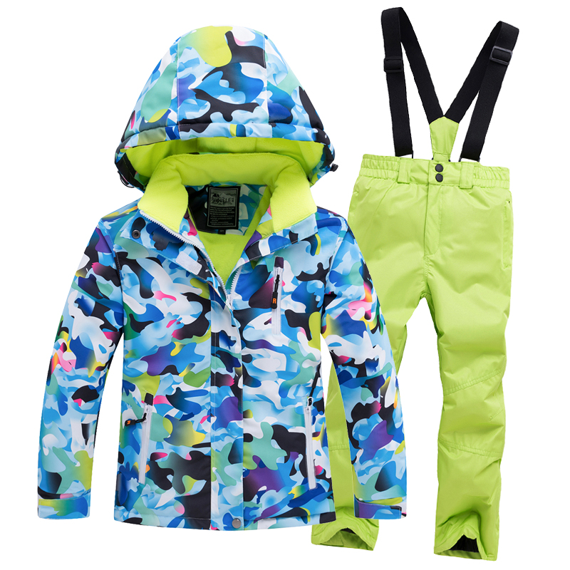 Kids Ski Suit Set Jacket and Pants Hooded Waterproof Windproof Thermal Ski Suits