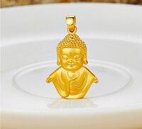New Pure 999 24k Yellow Gold 3D Buddha Pendant 3.33g