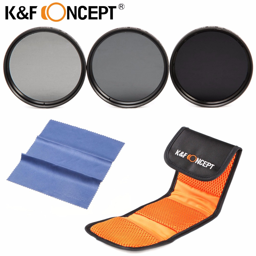 K F CONCEPT 37mm ND2 ND4 ND8 Neutral Density ND Lens Filter Kit for Canon for
