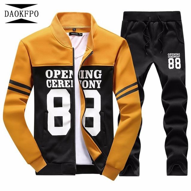 DAOKFPO 2017 Invierno Sportsuits Polo Hombre Abrigo Y Pantalones Largos  conjunto de Cuello Alto Caliente Chándal 146d2298f0fc6