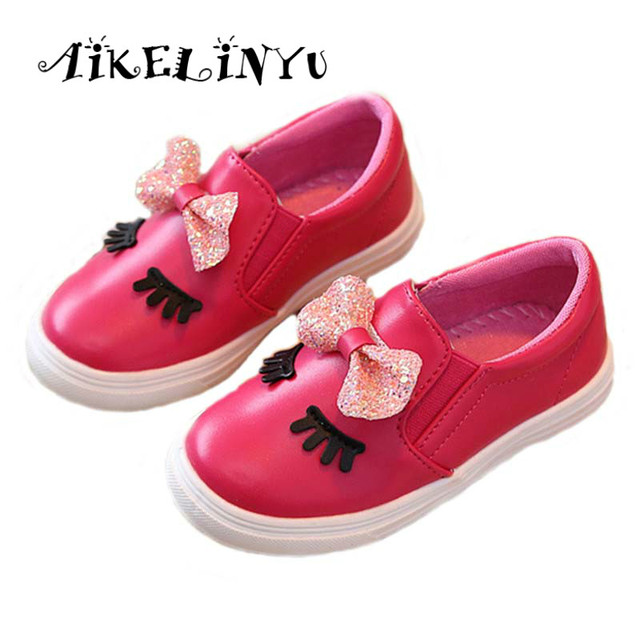 2017 Spring kids shoes sneakers red shoes girls baby Fashion Children Eye  casual shoes Korean Girls Princess Bow leather shoes 4195ab916241