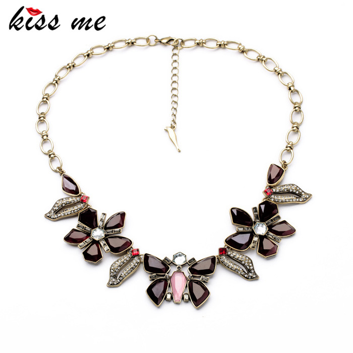KISS ME Factory Wholesale 2017 Women Dress Jewelry Fashion Resin Butterfly Flowers Collar Necklace