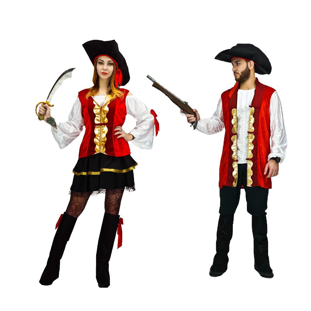 2018 Adults Lovers Halloween Pirates Costume For Children Robin Hood Cosplay Uniforms Woman Man Party Dress Performance Wear