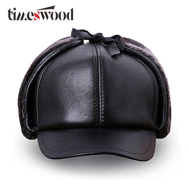 TIMESWOOD  orejeras gorra de Cuero cuero genuino ruso béisbol de invierno  cálido Real vacuno 64c2330f113