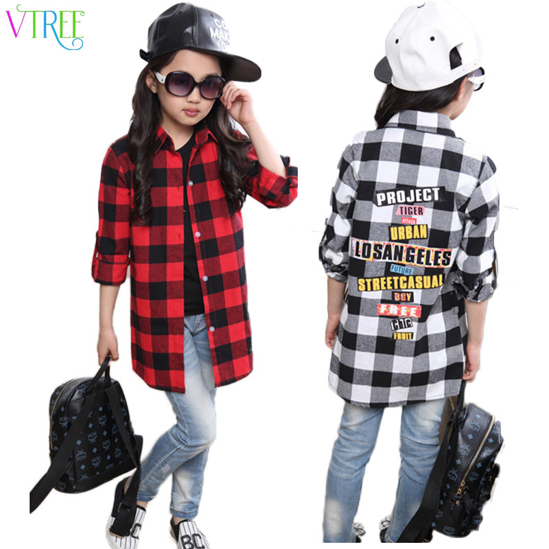 V-TREE Spring fashion girls plaid shirts red/white school girl blouse long section shirts for girls long sleeve blouse designs dolman sleeve blouse