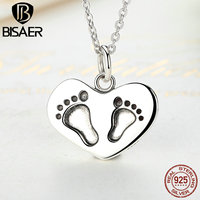 Bijoux Mother Gift 925 Sterling Silver Baby's Feet Engrave Lucky To have A Mom Like You Pendant Necklaces Silver Jewelry GXN067