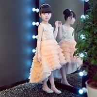 2017 Корейский сладкий розовый для маленьких девочек элегантные платья принцессы Детская хвостохранилища бальный наряд на день рождения Сва