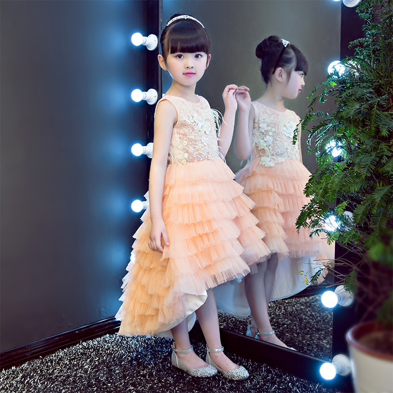 2017 Korean Sweet Pink baby girls elegant princess dresses children tailing ball gown birthday wedding party dress with flowers