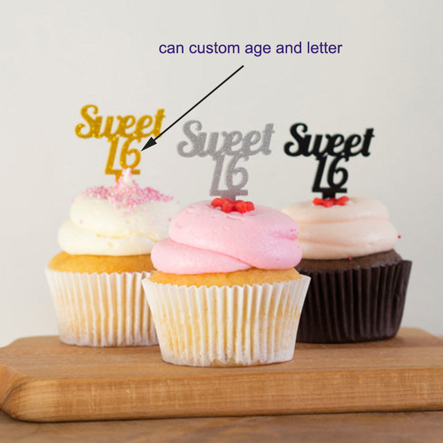 GoldSilverBlack Glitter Sweet 16 Cup Cake Topper Girls Sixteenth