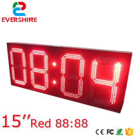 led digital wall colock 15 inch red color 88:88 led digital sign 4 digits number led time panel