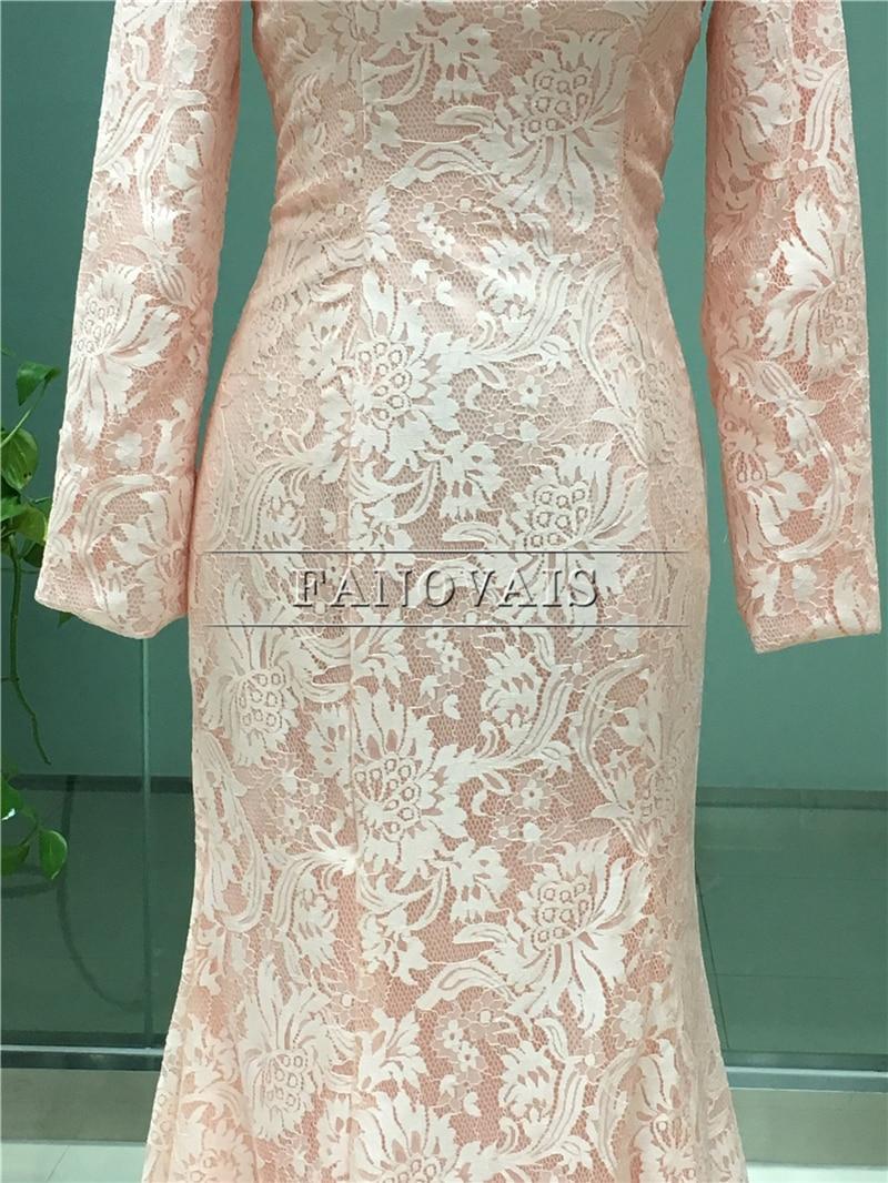Real Photo Elegant Dubai Muslim Aftonklänningar Lång Ärmar Lace - Särskilda tillfällen klänningar - Foto 5
