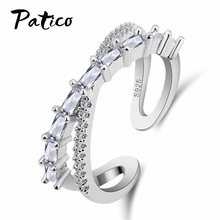 Top Sale 925 Sterling Silver Austrian Crystal Stackable Rings For Women Gift Shining Cross Cubic Zirconia Party Jewelry(China)