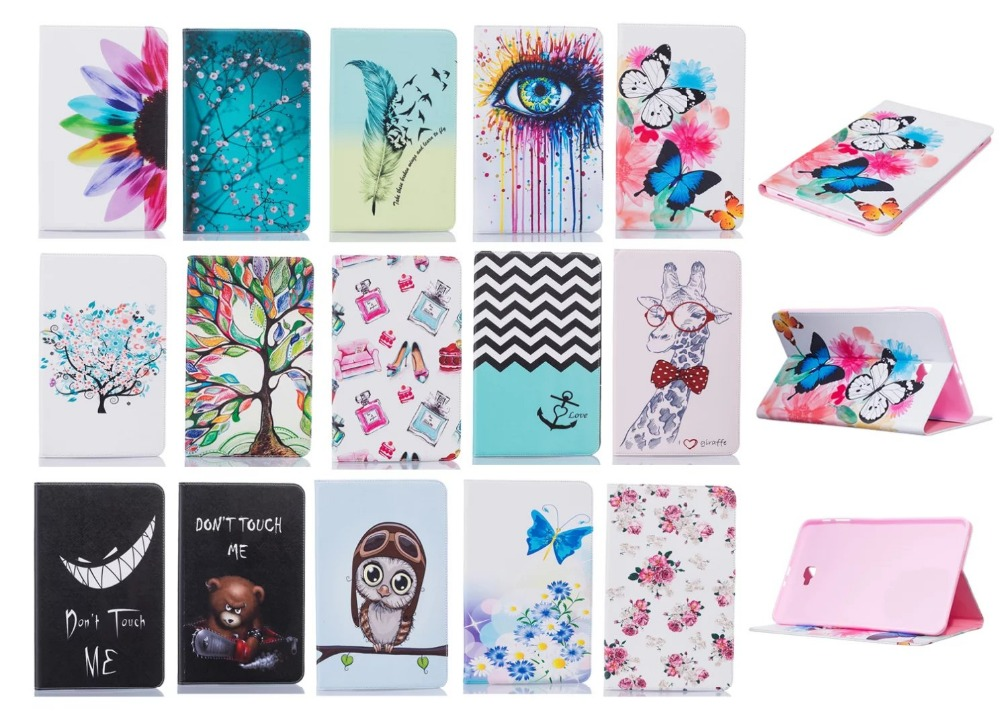 все цены на For Samsung Galaxy Tab A 10.1 T580 T585 SM-T580 T580N Tablet Case Print Design Folio PU Leather Protective Cover Shell Protector онлайн