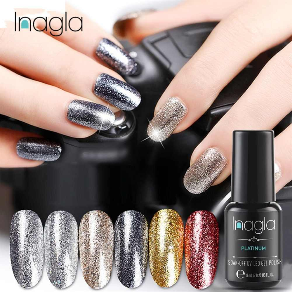 Inagla 8ml Platinum Gel Nail Art Glitter Starry Glitter Gel Nails Paint Crystal Soak Off UV LED Gel Nail Polish Primer