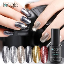 Inagla 8ml Platinum Gel Nail Art Glitter Starry Nails Paint Crystal Soak Off UV LED Polish Primer