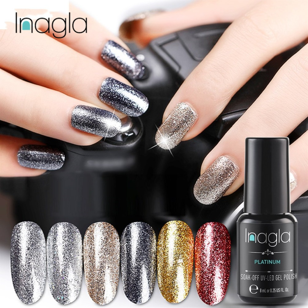 Inagla Nail Art 8ml Shining Glitter Starry Platinum Paint Gel Crystal Lacquer Nail Art Soak Off Platinum Uv Led Gel Nail Polish