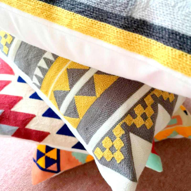 Kelim Stil Stickerei Kissen Abdeckung Geometrische Aztec Kissen Fall mit Bestickte Für Sofa Sitz Einfache Home Decor 45*45 cm