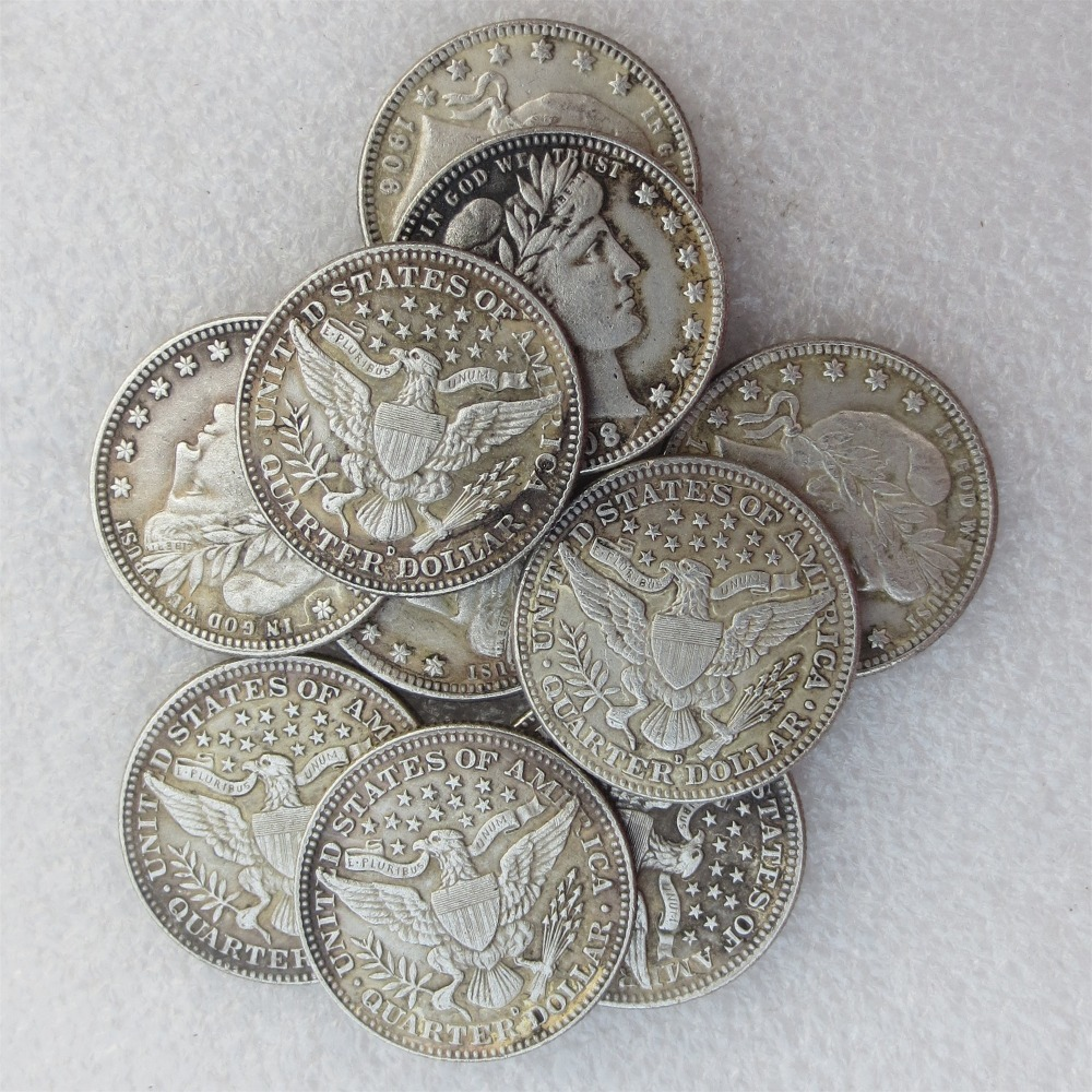 A set of 1906-1916 Barber Quarter Dollars 10pcs Mintmark: D Different Date Material Silv ...
