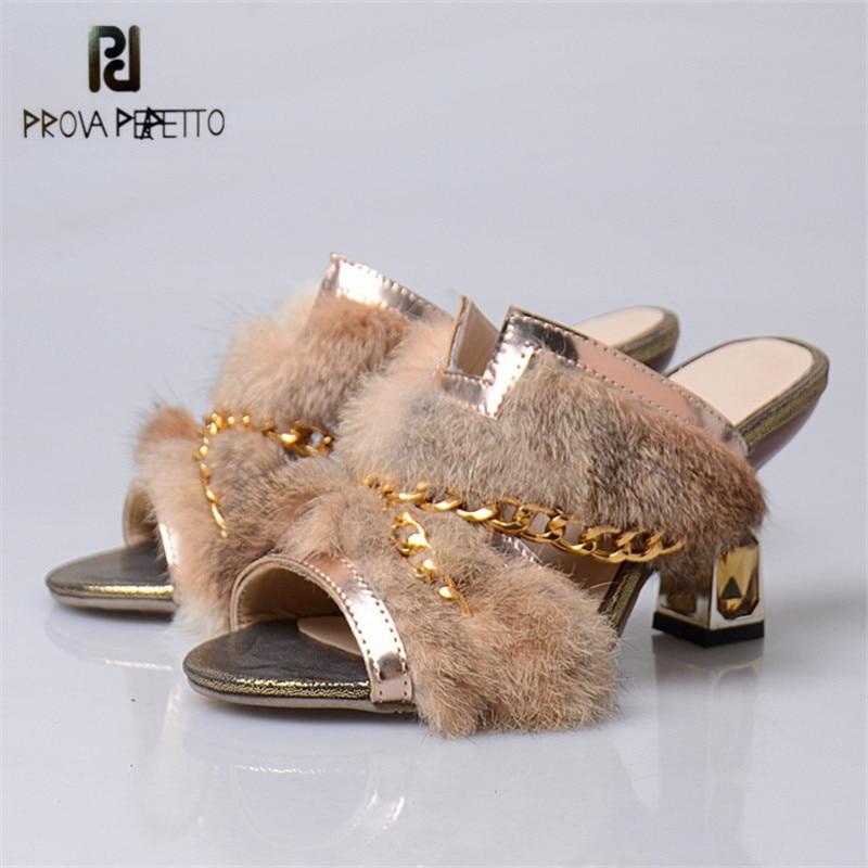 Prova Perfetto Luxury Mink Fur Slippers Summer Gold Chain High Heel Slipper Women Sweet Princess Outside Slides Sexy Sandals стоимость