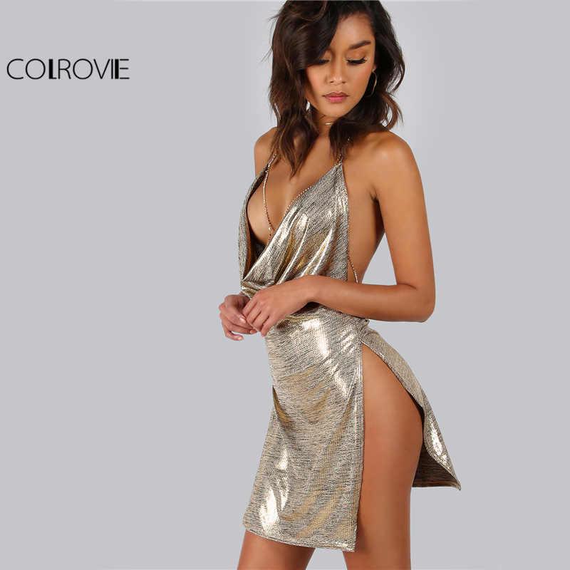 COLROVIE Metallic Plunge Cowl Party Dress złota seksowna szczelina Backless kobiety letnie sukienki Mini Bodycon drapowana obcisła sukienka wieczorowa
