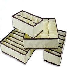 4 PCS Vente Chaude Non-Tissé Beige Box Conteneur De Stockage Tiroir Séparation Lidded Placard Boîtes Pour Cravates Chaussettes Soutien-Gorge Sous-Vêtements Organisateur