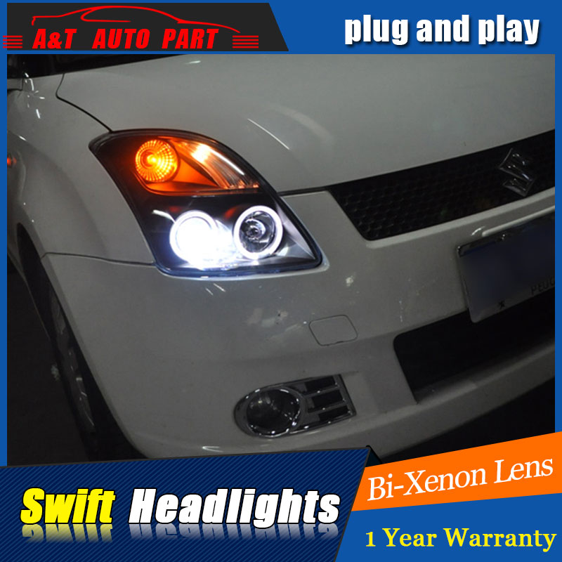 Auto part Style LED Head Lamp for SUZUKI Swift led headlights 2005-2011 for Swift drl H7 hid Bi-Xenon Lens angel eye low beam for volkswagen polo mk5 vento cross polo led head lamp headlights 2010 2014 year r8 style sn