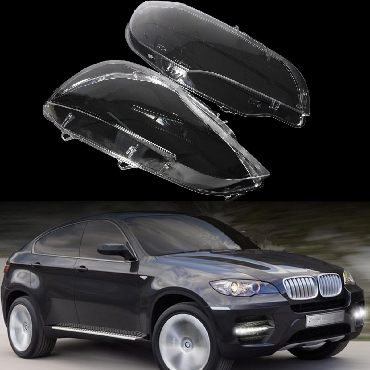 All Types 2008 x5 : LEFT + RIGHT Headlight Headlamp Lens Replacement Cover For BMW ...
