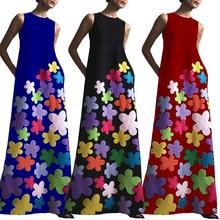 2019 new summer vestidos verano A-Line Bohemian women dress O-Neck dresses black dress flower dress 4 size