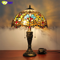 FUMAT Stained Glass Table Lamp European Style Baroque Glass Shade Lamp Living Room Hotel Bedside Lamp