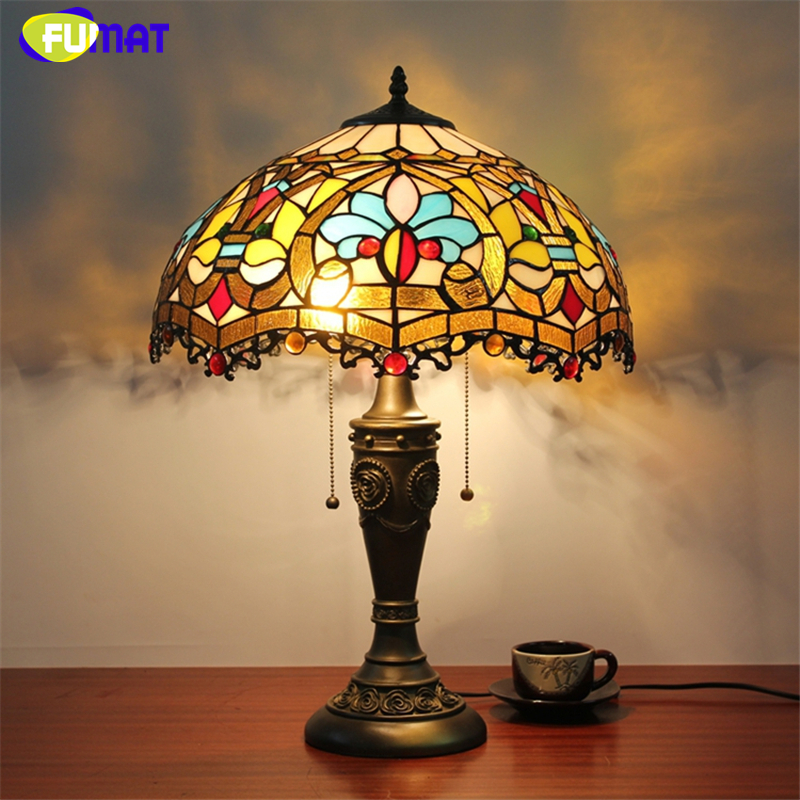 Fumat stained glass table lamp european style baroque for Glass bedside lamp shades