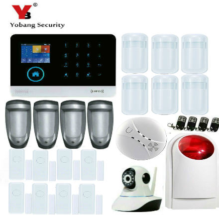 YobangSecurity Wireless Home Security System Wifi GSM GPRS Alarm System IP Camera Smoke Detector Dual PIR Magnetic Door Sensor yobang security wifi gsm wireless pir home security sms alarm system glass break sensor smoke detector for home protection