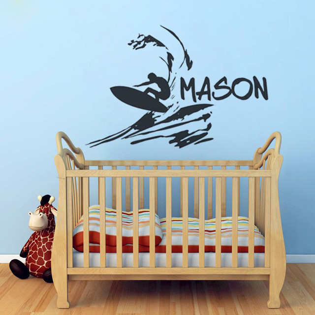 T07036 Boys Custom Name Decal Beach Wall Sticker Vinyl Surfer Wall Decal  Surfing Decals Kids Wall