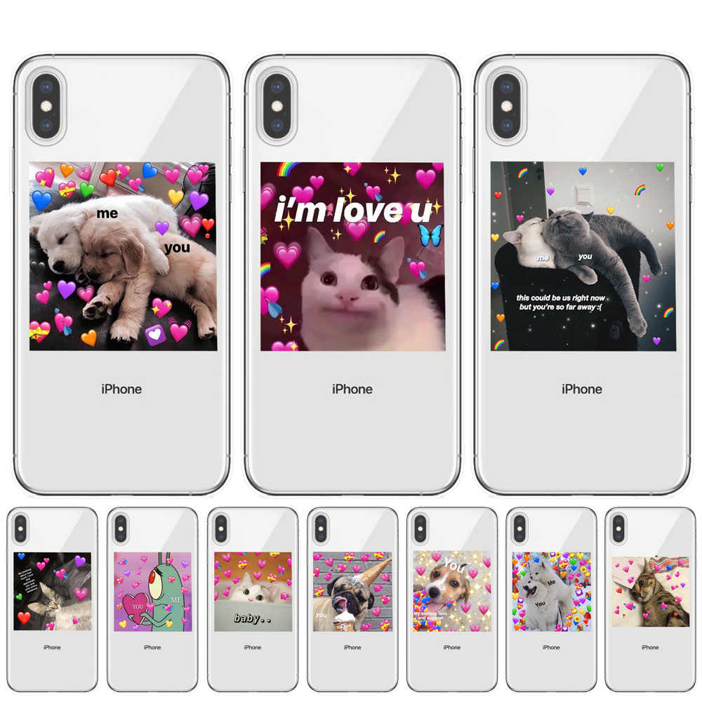 Super cute cat dog cartoon pink Heart-shaped YOU&ME series HD Clear phone case for iphone 11 Pro XS Max X XR 8 7 6 6S Plus 5S SE