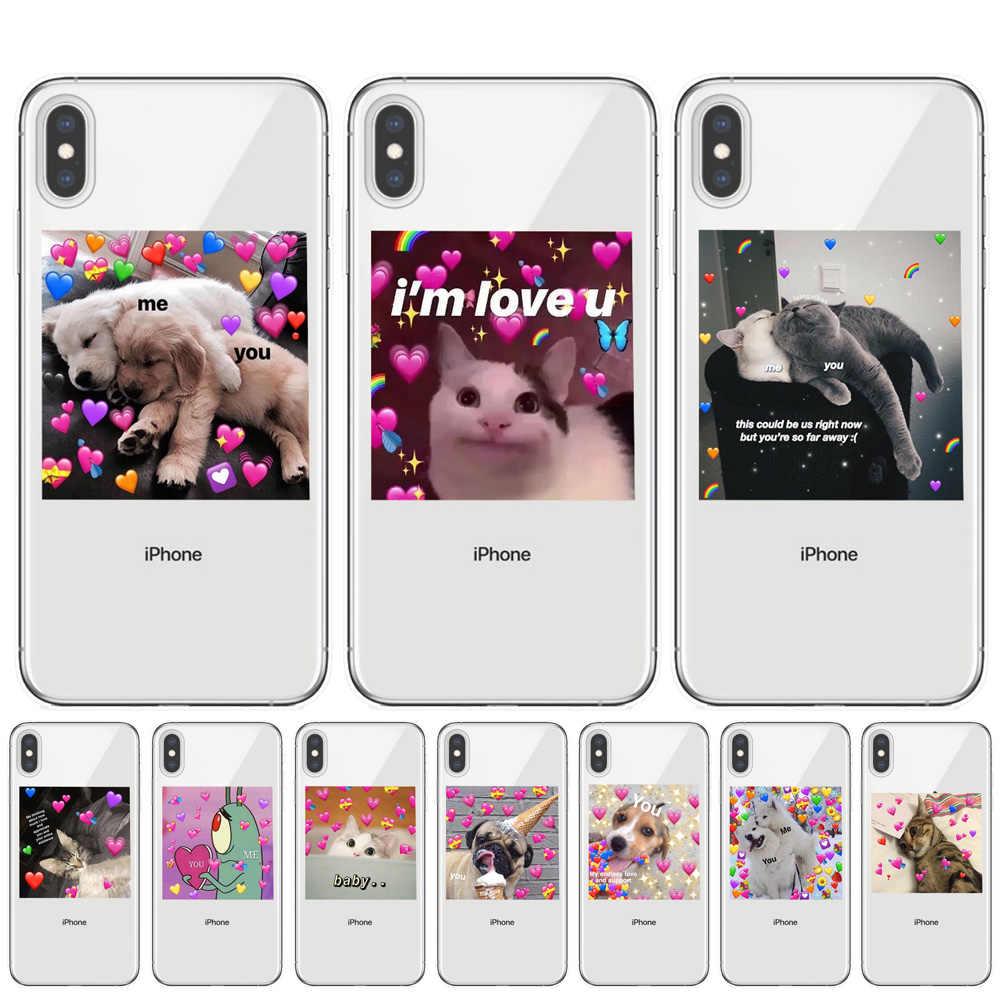 Super bonito do gato do cão dos desenhos animados pink Heart-shaped YOU & ME série HD caso de telefone Claro para iphone 11 Pro XS Max X XR 8 7 6 6S Plus 5S SE