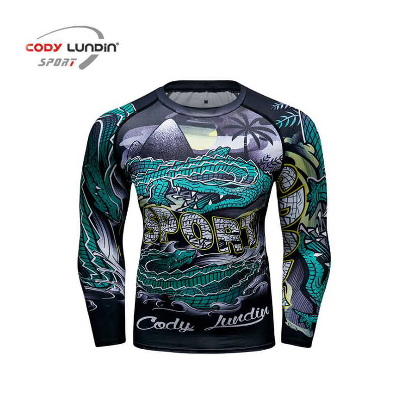 2019 New Rashguard Compression Shirt Long Sleeves T shirt Men 3D Muscle Fitness BJJ MMA Tights Bodybuild Cross fit Quick Dry Top