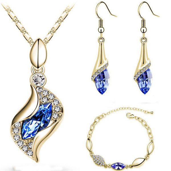 SHUANGR Top Quality Elegant luxury design new fashion Gold color colorful Austrian crystal drop jewelry sets women gift 1