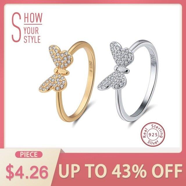 ORSA JEWELS Genuine 925 Sterling Silver Women Rings Cute Butterfly Silver&Gold C