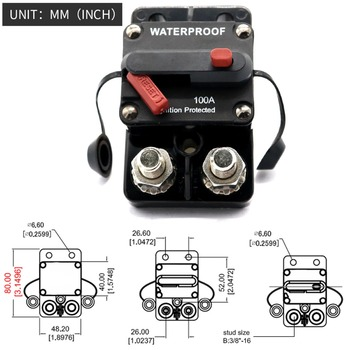 100 Amp Circuit Breaker Trolling with Manual Reset, 12V- 48V DC, Waterproof