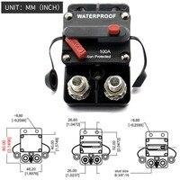 100 Amp Circuit Breaker Trolling with Manual Reset, 12V 48V DC, Waterproof