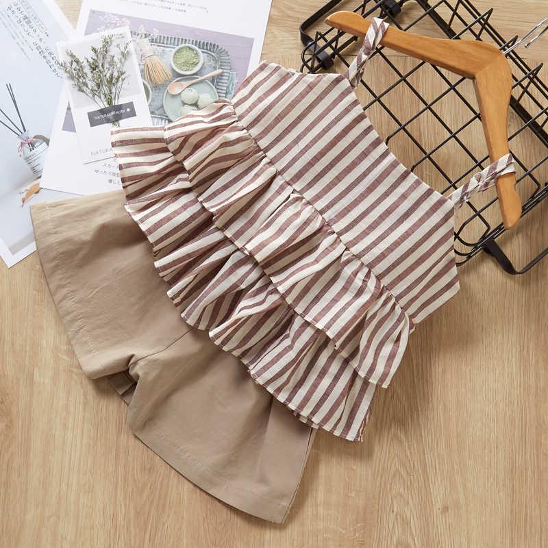 女の子服セット 2020 ブランドの幼児の綿の服子供服セット tシャツ + チェック柄ショート 2 個のスーツの子供夏の服