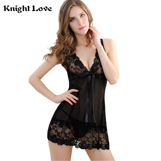 b4655a931322 Sexy Night Dress Sleeveless With G-String Nighties V-neck Nightgown Solid  Lady Nightdress Lace Night Gown Sleepwear For Women