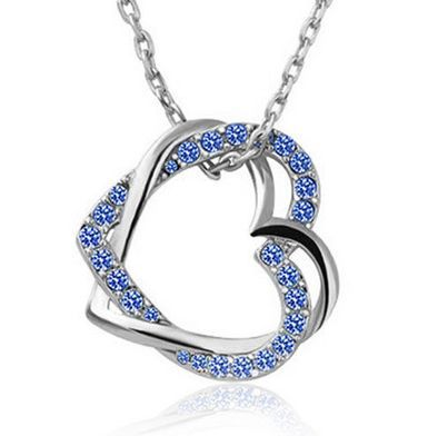 KN157 Wholesale 10-Pcs A Lot Austrian Crystal 2 Twisted Love Heart Pendant Necklace Collier Bijoux Items Women Jewelry Accessory