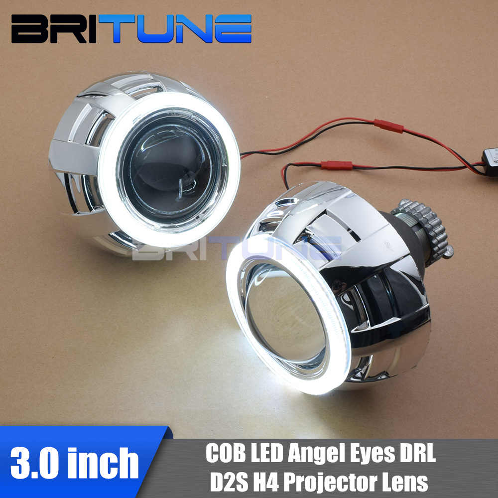 3.0 D2S HID Bi-xenon Projector Lenses Accessory With COB LED Angel Eyes Silver Shrouds DRL Halos For H4 Cars Headlight Retrofit