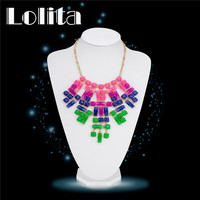 2016 New Women 18K Yellow Gold Plated Multicolor Austrian Crystal Bride Wedding Necklaces Indian Chic Metal